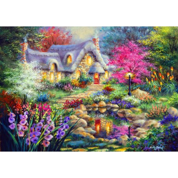 Puzzle Bluebird - Nicky Boehme: Cottage Pond 1500 piese (70060)