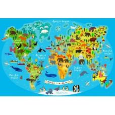 Puzzle Bluebird - World Travel Map 260 piese (70378)