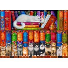 Puzzle Bluebird - Cat Bookshelf 150 piese (70396)