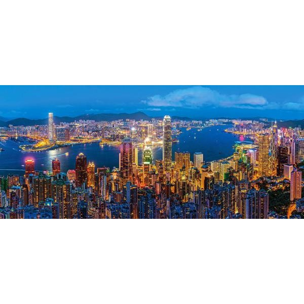 Puzzle Castorland Panoramic - Hongkong Twilight 600 Piese
