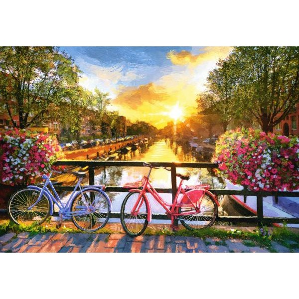 Puzzle Castorland - Picturesque Amsterdam with Bicycles 1.000 piese (104536)