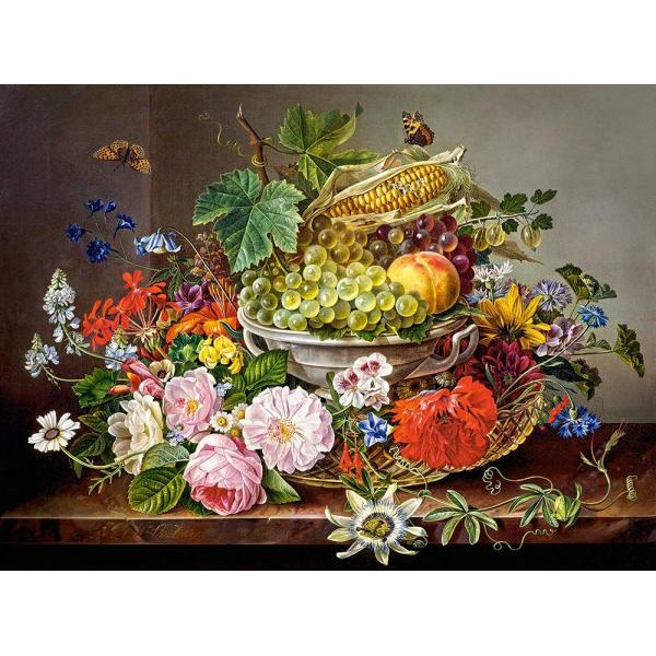 Puzzle Castorland - 2000 de piese - Still life with flowers and fruit basket