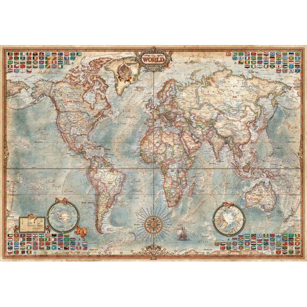 Puzzle Educa - The World Political Map 1500 piese include lipici puzzle (16005)