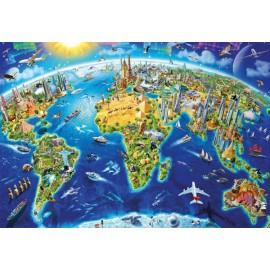 Puzzle Educa - World Landmarks Globe Adrian Chesterman 2000 piese include lipici puzzle (17129)