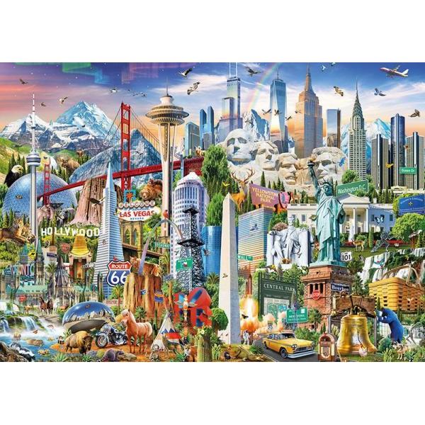 Puzzle Educa - North America Landmarks 1500 piese include lipici puzzle (17670)