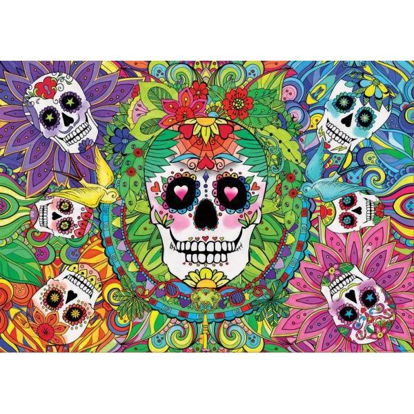 Puzzle fosforescent Educa - Skull Sugar Puzzle 1.000 piese