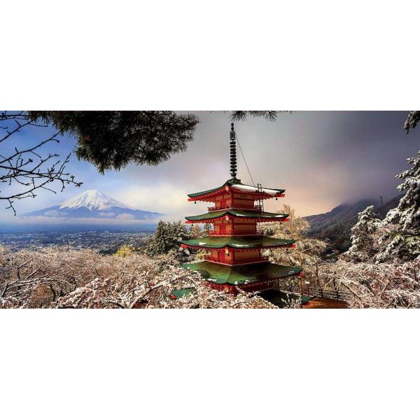 Puzzle panoramic Educa - Mount Fuji and Pagoda Chureito Japan 3.000 piese