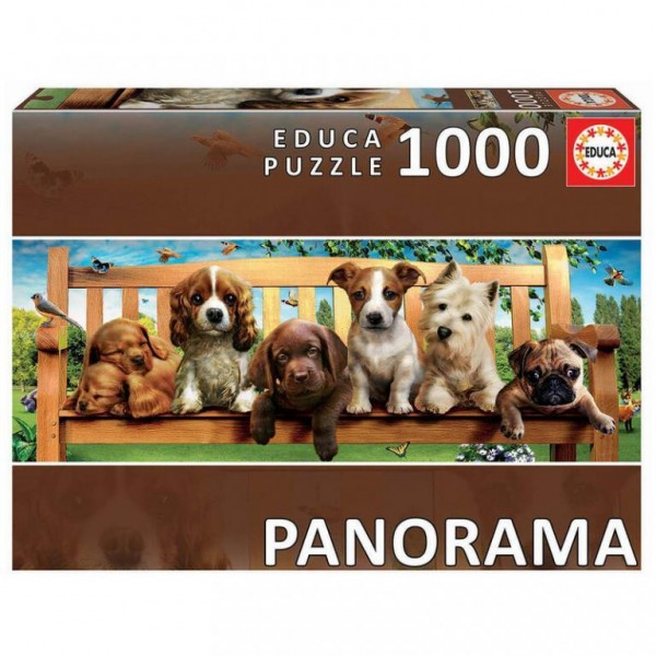 Puzzle Educa panoramic - Puppies on the bench 1000 piese (19038)