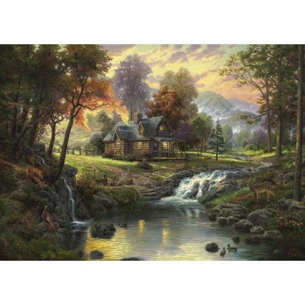 Puzzle Schmidt - 1000 de piese - Thomas Kinkade : Mountain Retreat