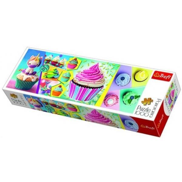 Puzzle panoramic Trefl - Colorful Cupcakes 1.000 piese (29045)