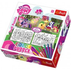 Puzzle de colorat Trefl - My Little Pony and coloring pages puzzles 2x48 piese (40767)